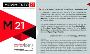 """PRESENTACIÓN DE LA 6ta. EDICIÓN DE M21: """"EL PERONISMO FRENTE AL DESAFÍO DE LA RENOVACIÓN"""""""